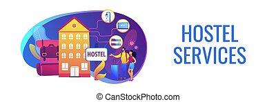 Hostel services concept banner header - Cheap inn, ...
