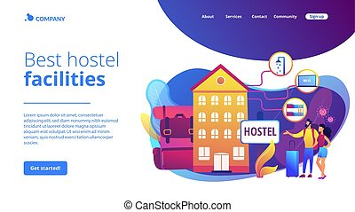 Hostel services concept landing page - Cheap inn, affordable...
