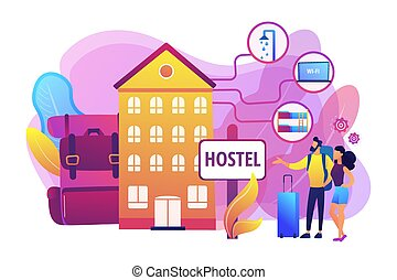 Hostel services concept vector illustration - Cheap inn,...