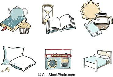 Hostel set of vector flat icons. Travel kit hand drawn illustration grunge texture, isolated background