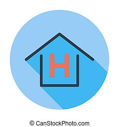 Hostel. Single flat color icon. Vector illustration.