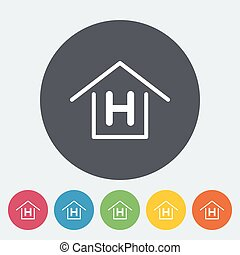 Hostel. Single flat icon on the circle. Vector illustration.