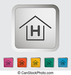 Hostel. Single icon. Vector illustration.