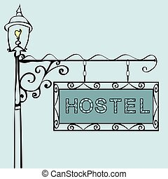 hostel text on vintage street sign Patterned vintage gas...