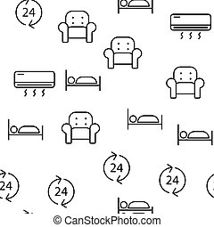 Hostel, Tourist Accommodation Vector Linear Icons Set -...