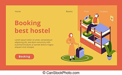 Hostel Website Page - Isometric website page with hostel ...