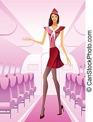 Hostess greets passengers on board - vector illustration
