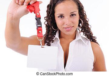 hostess showing her badge - beautiful brunette hostess...