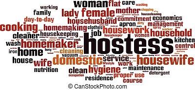 Hostess word cloud concept. Vector illustration