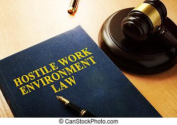 hostil, trabajo de la oficina, ambiente, ley, mesa.