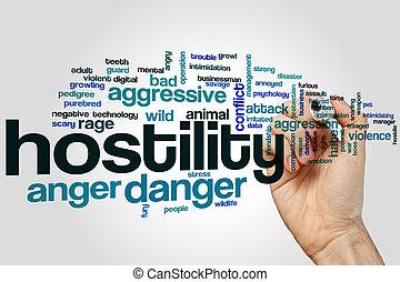 hostilidade, palavra, nuvem