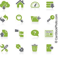 hosting, ícones, --, natura, série