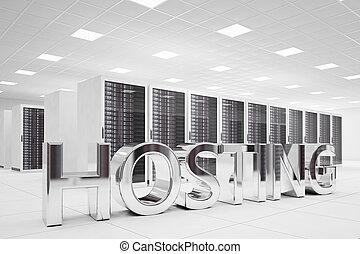 hosting, cartas, en, centro de datos