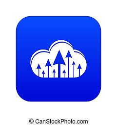 Hosting cloud icon blue