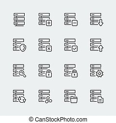 Hosting, computer network vector icons set, thin line