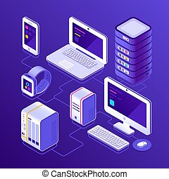 Hosting data server, pc, laptop computer, smart watch, NAS, smartphone or mobile phone. Devices for business isometric vector illustration
