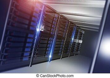 Hosting Datacenter Concept Illustration. Straight Datacenter...