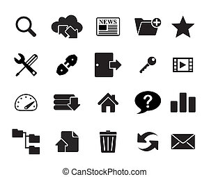 Hosting & FTP Icons vector illustra