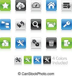 hosting, iconos, //, limpio, serie