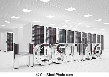 Hosting Letters in data center made of chrome