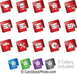 hosting/, netwerk, kelner, stickers, &