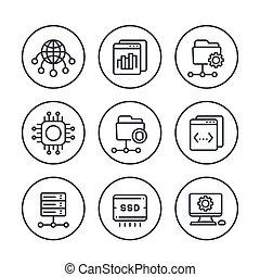 hosting, networks, ftp, servers line icons set