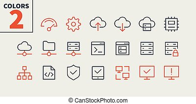 Hosting Pixel Perfect Well-crafted Vector Thin Line Icons 48x48 Ready for 24x24 Grid for Web Graphics and Apps with Editable Stroke. Simple Minimal Pictogram Part 1
