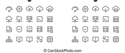 Hosting Pixel Perfect Well-crafted Vector Thin Line Icons 48x48 Ready for 24x24 Grid for Web Graphics and Apps with Editable Stroke. Simple Minimal Pictogram