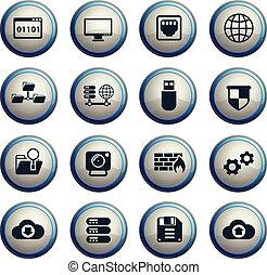 hosting provider icon set - hosting provider vector icons...