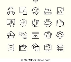 Hosting Well-crafted Pixel Perfect Vector Thin Line Icons 30 2x Grid for Web Graphics and Apps. Simple Minimal Pictogram
