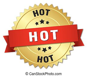 hot 3d gold badge with red ribbon