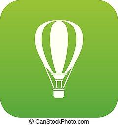 Hot air ballon icon digital green