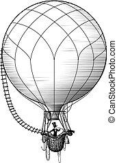 hot air ballon passenger - Retro balloonist flies in a...