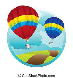 hot air ballons - hot air balloons over mountaings...