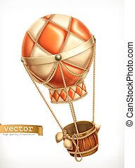 Hot air balloon, 3d vector icon