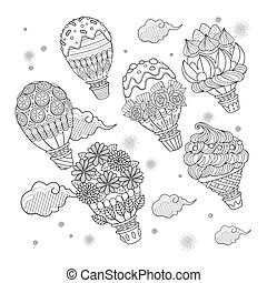 Hot air balloon adult coloring page, lovely sweets decoration hot air balloon floating in the sky.