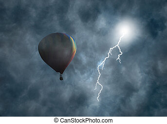 Hot-Air Balloon Among Dark Storm Clouds with Lightning -...