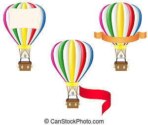 hot air balloon and blank banner illustration isolated on...