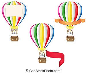 hot air balloon and blank banner vector illustration...