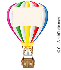 hot air balloon and blank banner vector illustration...