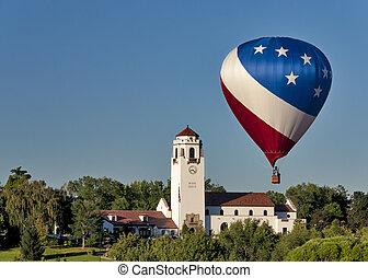 Hot air balloon and boise train depot - Boise Idaho Train...