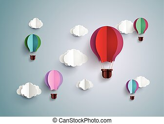 hot air balloon and cloud - Origami made hot air balloon and...