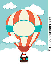 Hot Air Balloon and Clouds - Hot Air Balloon with label and...