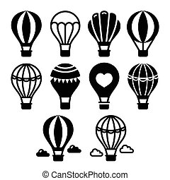 Hot air balloon and clouds icons se