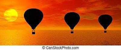 Hot-air balloon and earth