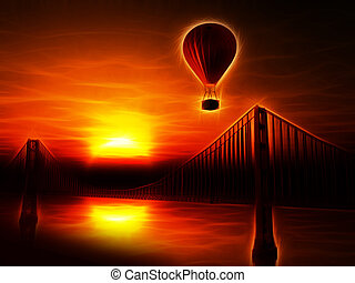 Hot Air Balloon and Golden Gate Bridge Illustration