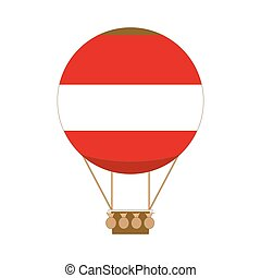 Hot air balloon app icon in flat style. Vector illustration isolated on white