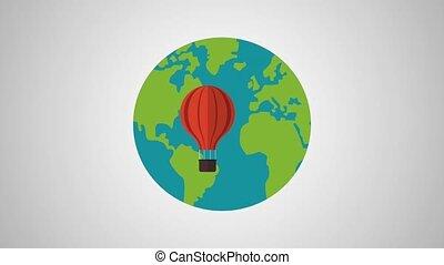 Hot air balloon around the world HD definition