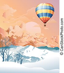 Hot air balloon at dawn - Picturesque rural snow covered ...