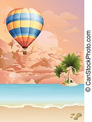 Hot air balloon at dawn